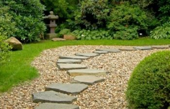 stone path on the lawn,
